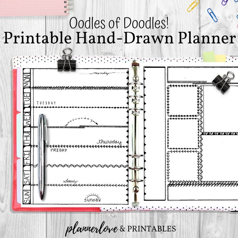 Doodle Themed Hand Drawn Printable Planner Decorated Bullet image 0
