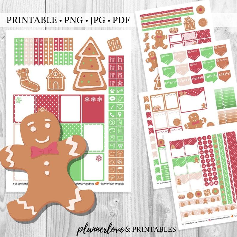 Printable Gingerbread Planner Sticker Kit Christmas Cookie image 0
