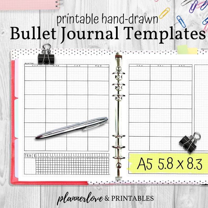 Printable Bullet Journal Templates Hand Drawn Planner image 0