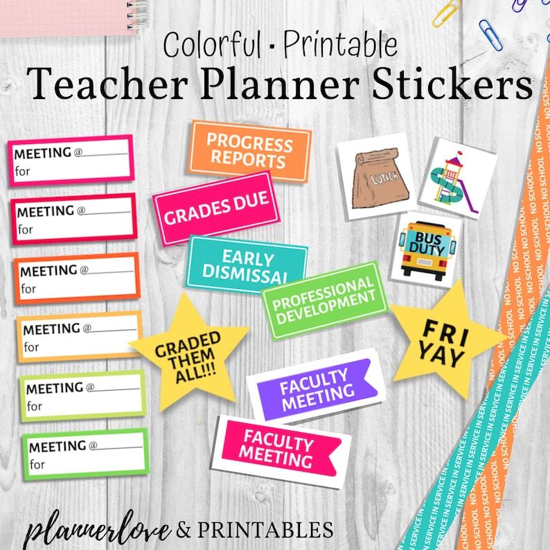 photo regarding Printable Teacher Planner named Rainbow Trainer Planner Stickers, Printable Stickers Sized for Erin Condren Instructor Planner, Huge Content Planner, Any Dimension Instructor Planner