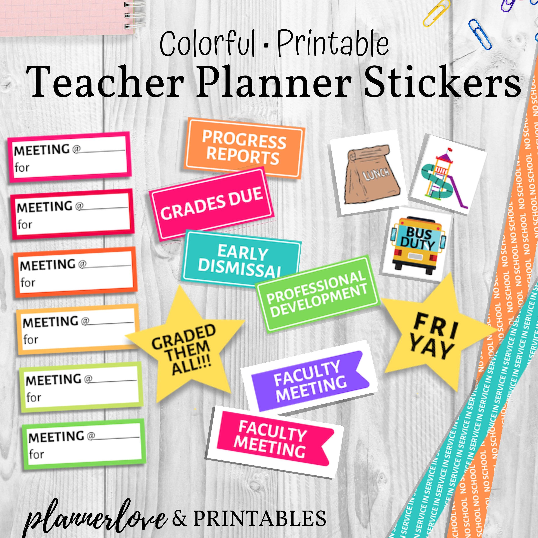 Rainbow Teacher Planner Stickers, Printable Stickers Sized for Erin Condren  Teacher Planner, Big Happy Planner, Any Size Teacher Planner