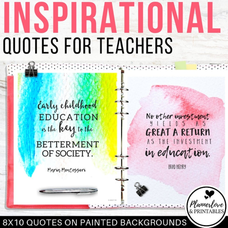Inspirational Quotes for Teachers Printable Binder Dividers image 0