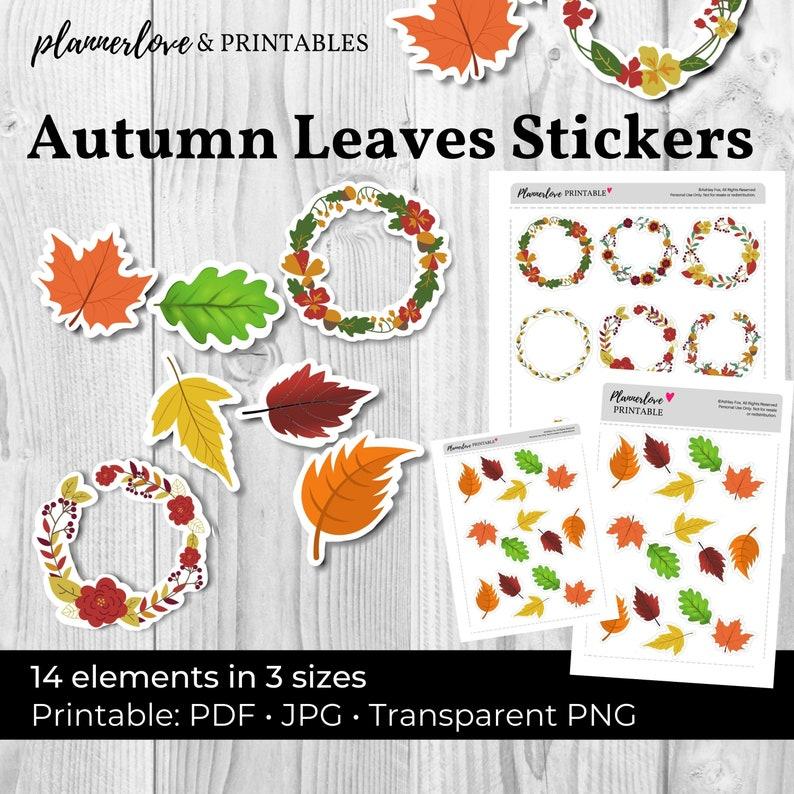 Printable Stickers: Wreaths PNG JPG PDF  Printable Fall image 0