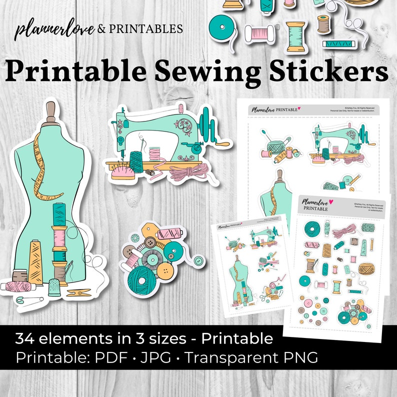 Printable Sewing Stickers Hand Drawn Stickers Printable image 0