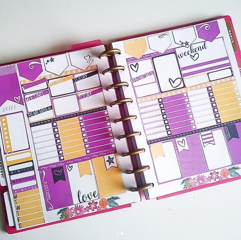 Purple Love Planner Stickers  Printable 2 page Weekly Kit image 0