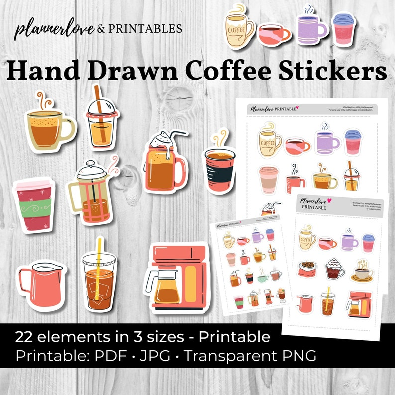 Printable Coffee Stickers Hand Drawn Stickers Coffee Stickers image 0