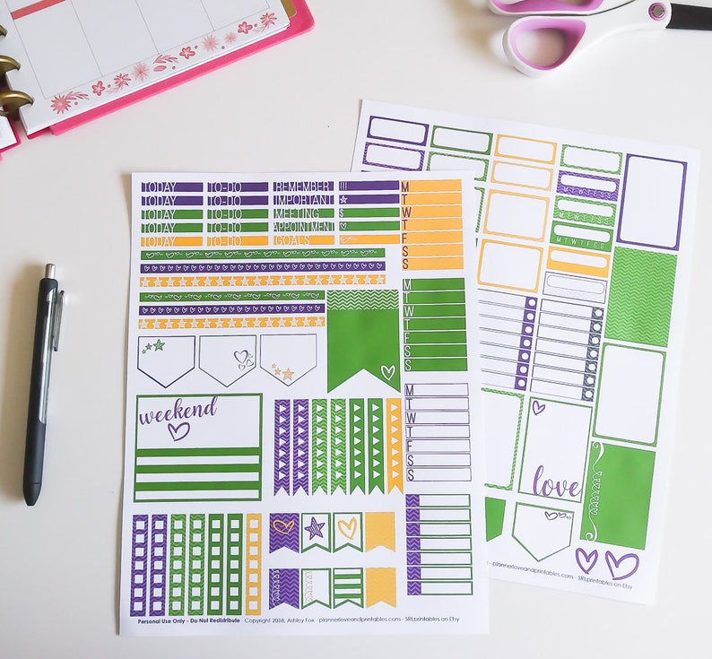 Mardi Gras Printable Planner Stickers  2 page Weekly Kit with image 0