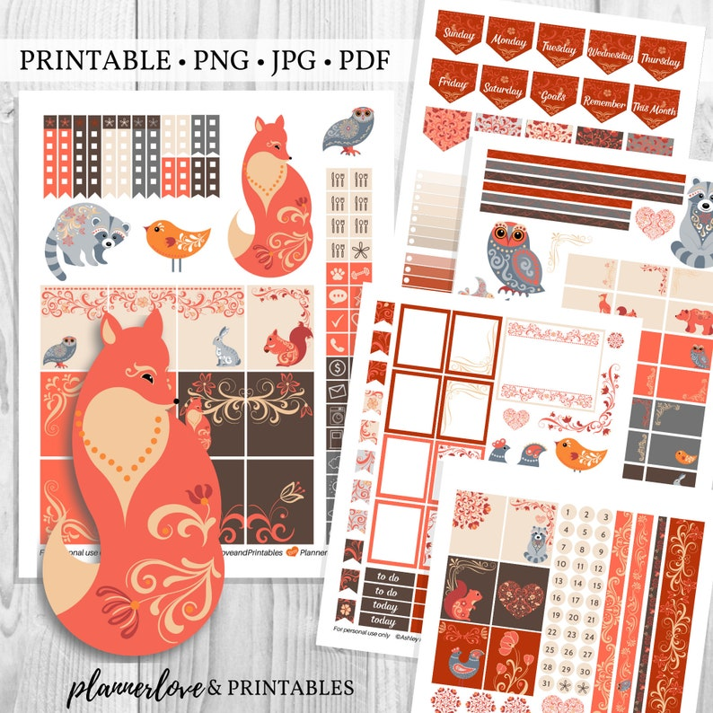 Printable Fall Planner Sticker Kit with Woodland Animals image 0