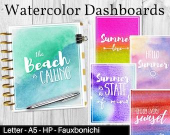 Printable Dashboards Summer, Watercolor Prints, Summer Dashboards, Planner Dividers, Planner Printables, Faubonichi / Happynichi Dashboard