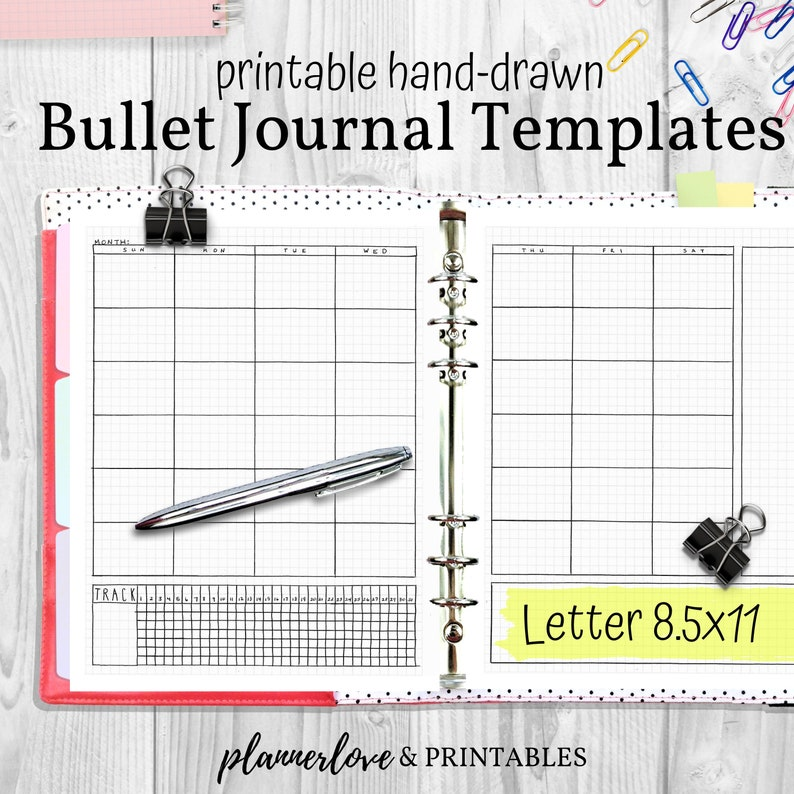 image regarding Printable Journal Templates titled Printable Bullet Magazine Templates, Hand Drawn Planner Inserts, Letter 8.5x11, PDF Prompt Obtain Planner Refills, Printable Bujo Web pages