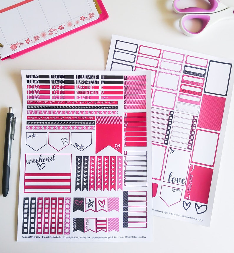 Pink Hearts 80s / 90s Inspired Printable Planner Stickers  image 0