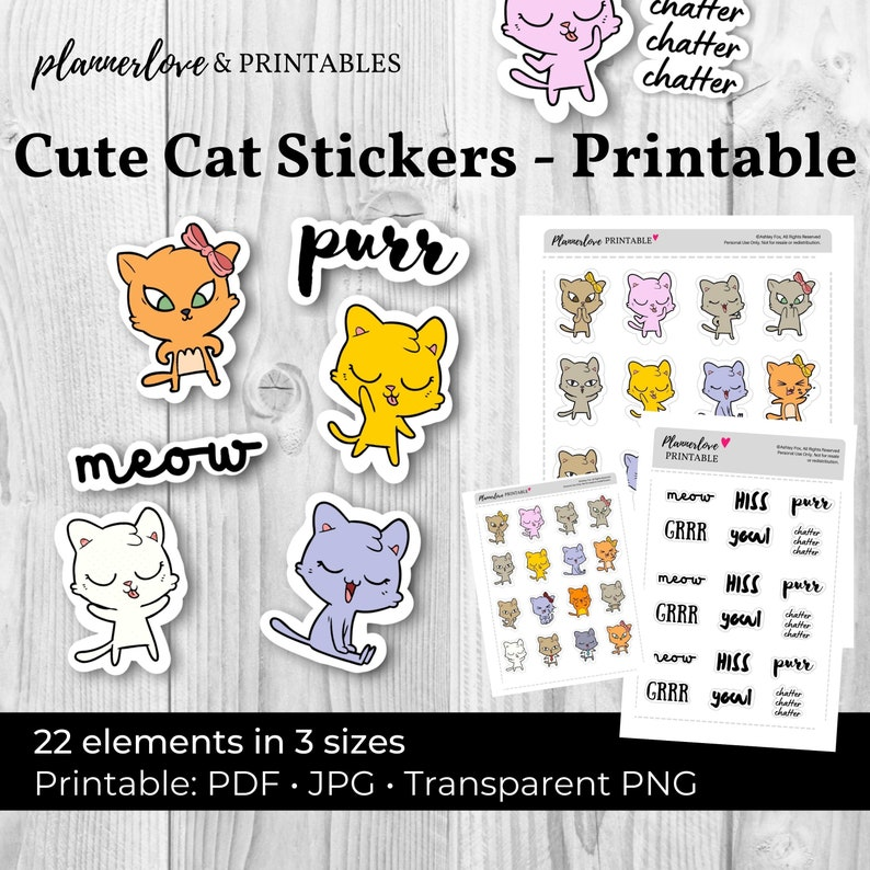 Printable Cute Cat Stickers: Printable Cat Stickers Printable image 0