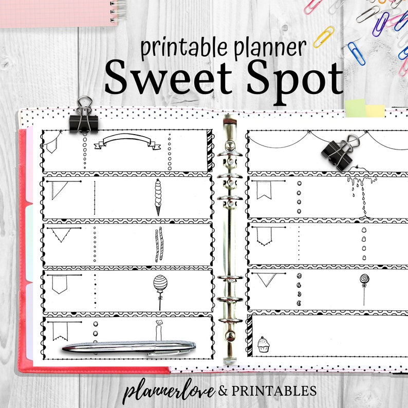 Sweet Spots Printable Planner Pages Hand Drawn Bullet Journal image 0