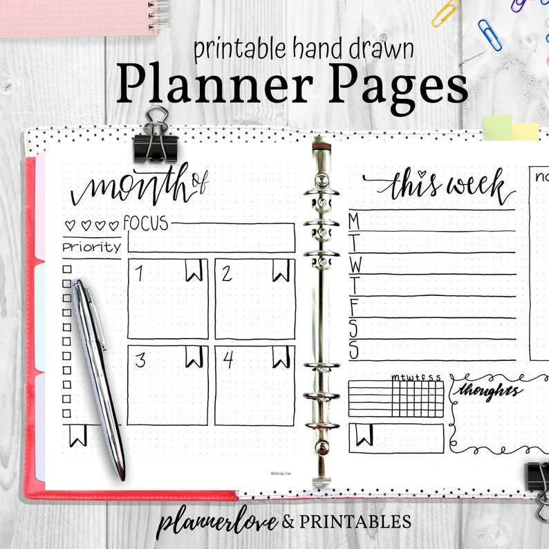 Hand Drawn Planner Pages Hand Drawn Bullet Journal PDF image 0