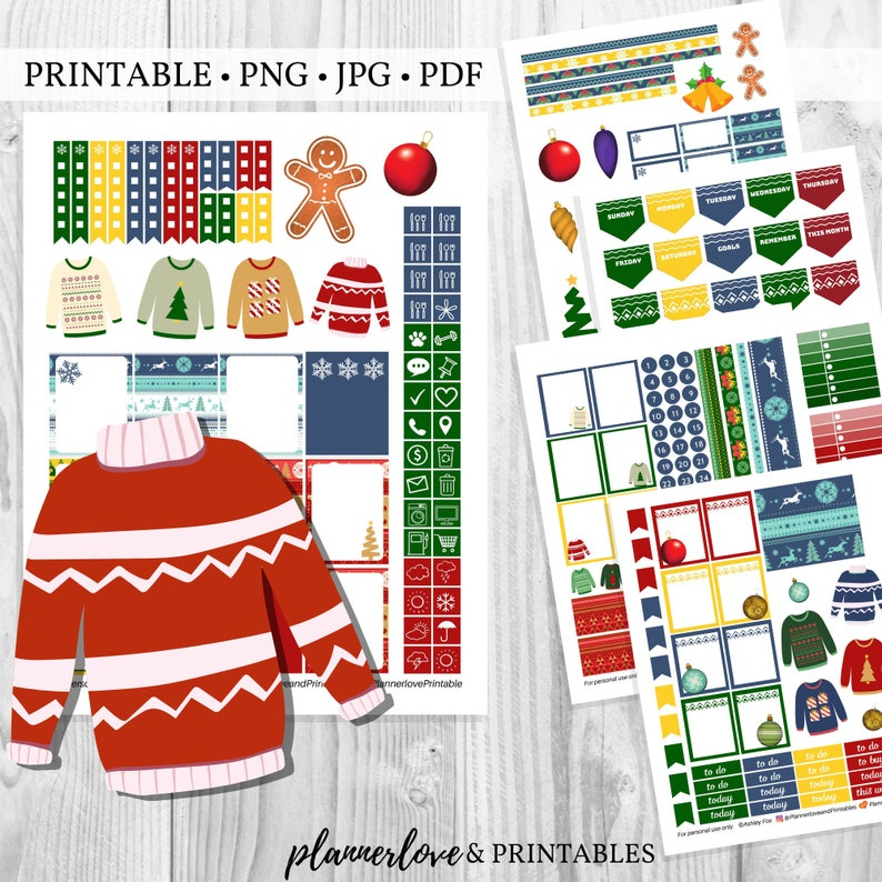 Printable Ugly Sweater Planner Sticker Kit Tacky Sweater image 0