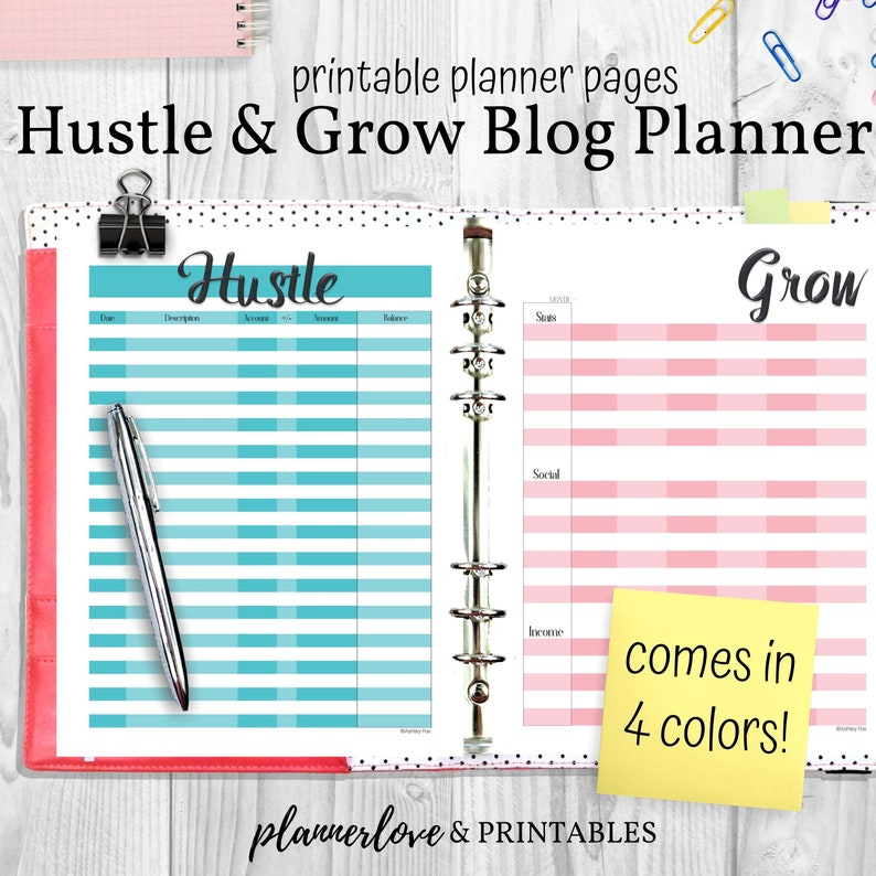 Hustle & Grow Blog Planner Pages Printable Planning Pages image 0