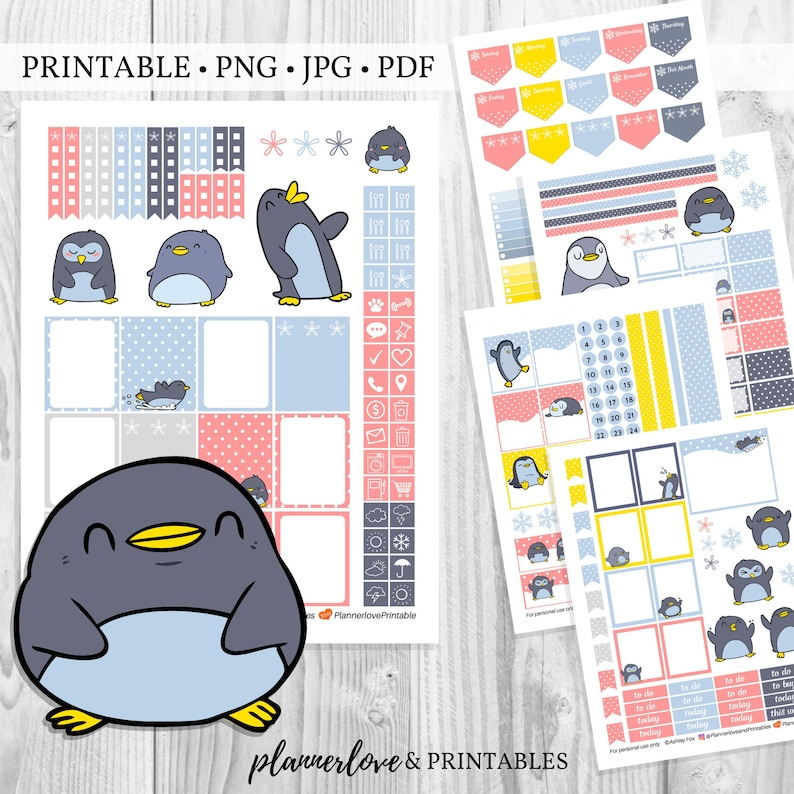 Printable Planner Sticker Kit for Winter with Penguins & Polka image 0