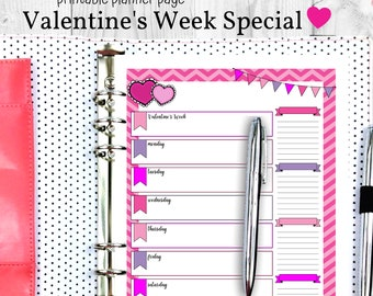Valentine's Day Weekly Planner Page - Special Weekly Printable Valentine's Day Planner - Single Weekly Planner Page Valentine's Week - Print