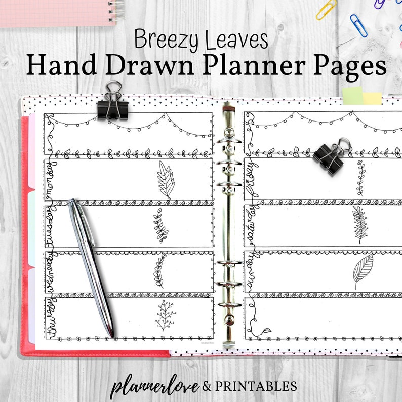 Breezy Leaves Hand Drawn Planner Bullet Journal Style Doodle image 0