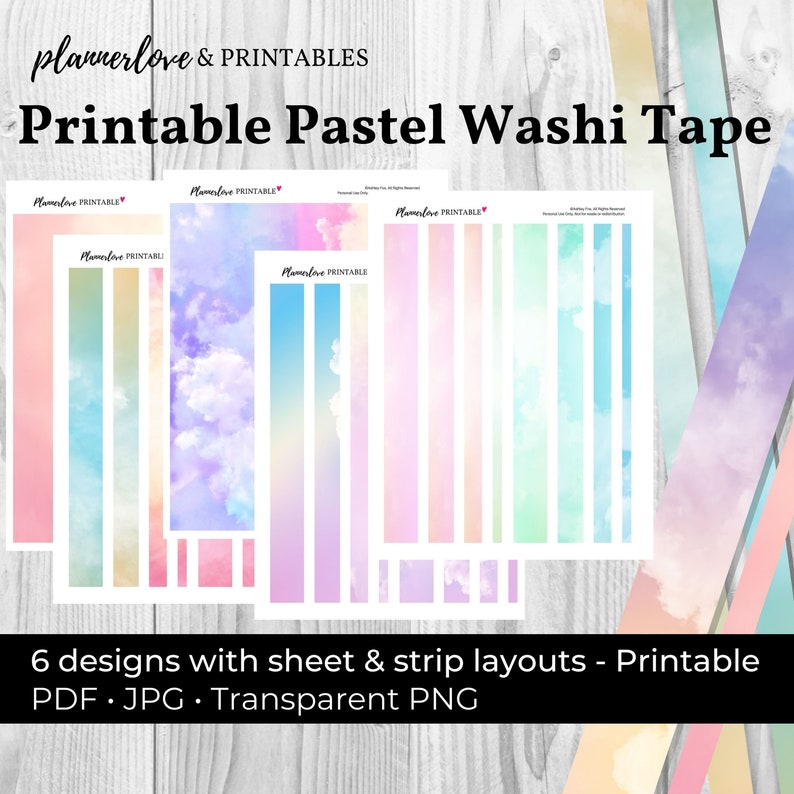 Printable Pastel Washi Tape Pastel Tape Pastel Washi Printable image 0