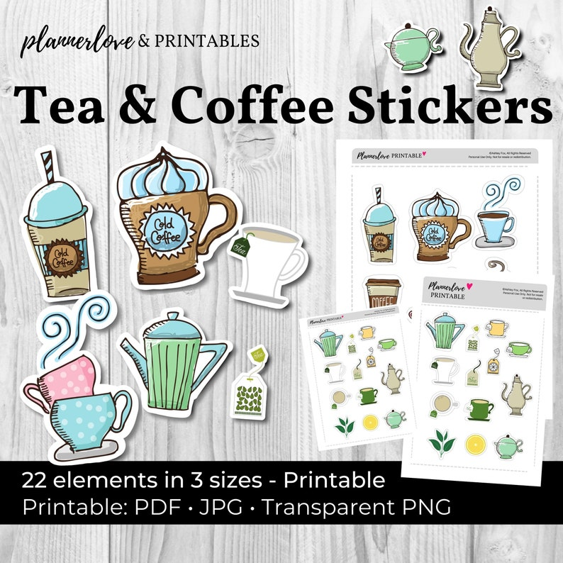 Printable Tea & Coffee Stickers Whimsical Hand Drawn image 0