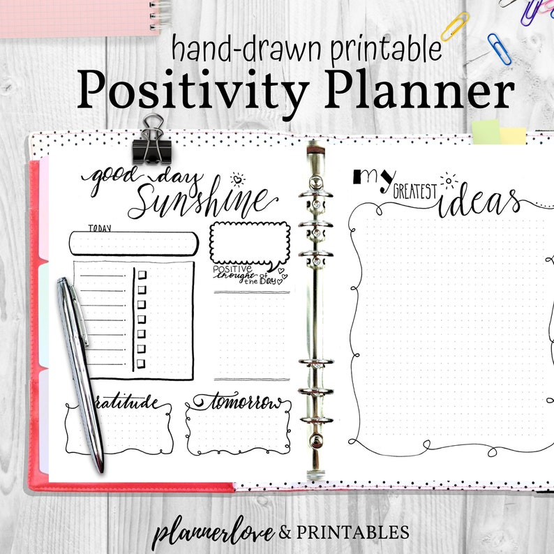 Positivity Planner Pages Hand Drawn Bullet Journal Inserts image 0
