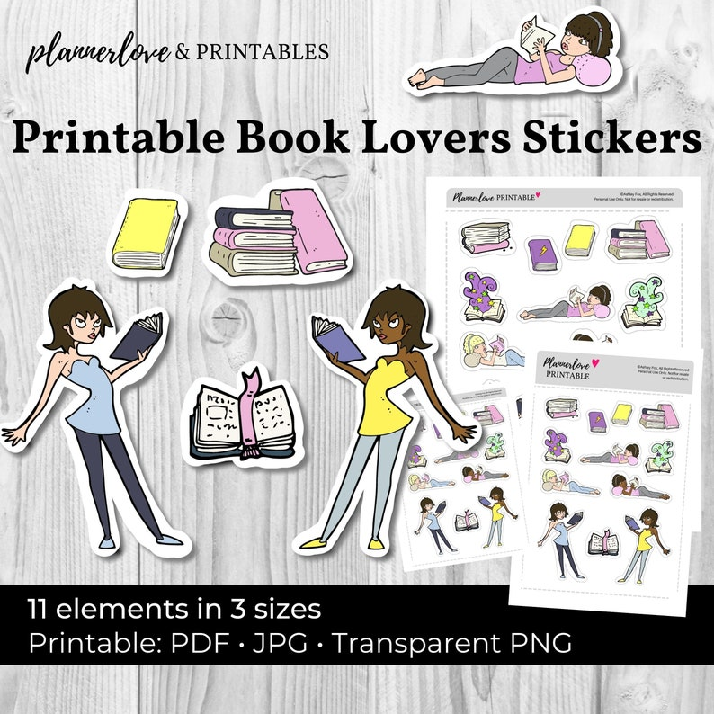 Printable Reading Stickers Hand Drawn Stickers Printable image 0