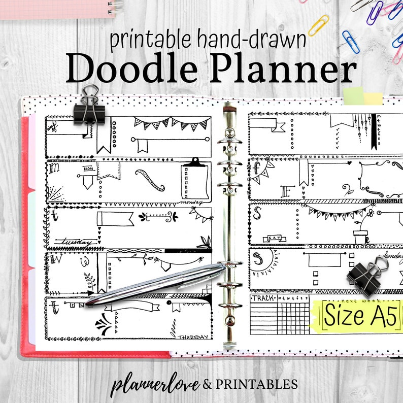 Doodle Planner Hand Drawn Coloring Planner Inserts A5 Size image 0