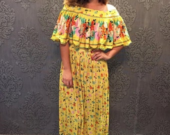 08f6f69655 Rare vintage dress by Jay Morley for Fern Violette 60 s 70 s yellow flowers  summer boho off shoulder anniversary wedding birthday party