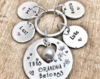 Hand Stamped Personalised Grandma Keyring, Present Grandma, This Grandma Belongs to, Custom Keychain Gran