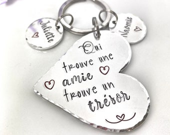 Personalised French Friend Keyring, Best Friend Keyring, Cadeau Meilleure Amie