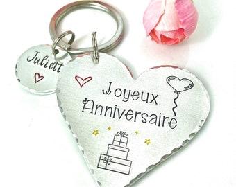 Joyeux Anniversaire Keychain, Hand Stamped French Birthday Gift, Keychain French Friend