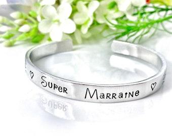 Super Marraine, Personalised Cuff Bangle, Custom Metal Cuff, Stamped Skinny Cuff, Hand Stamped Message Bangle, Godmother Cuff Bracelet