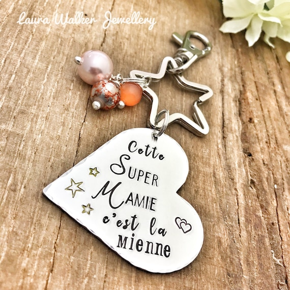 Personalised French Grand Mère Keyring Custom Keyring Grandma Mamie Cadeau