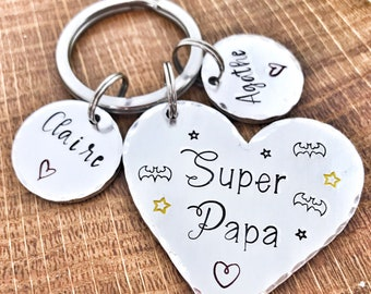 Hand Stamped Papa Keychain, Personalised Message French Keyring, Super Papa, Father's Day Keychain