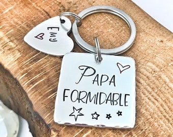 Hand Stamped Papa Keychain, Personalised Message French Keyring, Papa Formidable