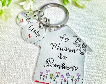 La Maison de Bonheur, Home is Where the Heart Is, Gift New Home Owner, New House Gift, Couples New Home Keyring