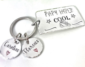 Hand Stamped Personalised French Message Keyring, Dad Husband Papa Papi, Father's Day, Porte Clé Papy