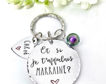 French Marraine Keychain, Marraine Cadeau, Marraine Porte Clé
