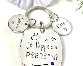 Parrain Keychain, French Veux-tu être mon Parrain?, French Keyring for Godfather, Demande Parrain