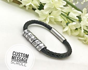 Men's Secret Message Leather Bracelet, Mens Scroll Bracelet, Mens Stamped Custom Bracelet, Father's Day Gift