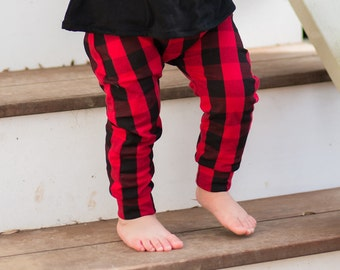 Buffalo Plaid Baby Boy Pants, Lumberjack First Birthday Outfit, Toddler Boy Clothes, Baby Boy Clothes, Infant Joggers, Newborn Boy Leggings