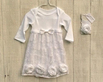 White Baby Dress w/ Roses, Girl Baptism Outfit, Baby Dedication Dress, Christening Gown, Infant Wedding Outfit, Blessing Dress, Lace Gown