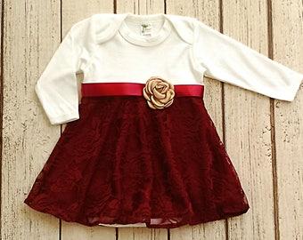Maroon robe de bébé bébé robe, Bourgogne, robe fille nouveau-né, robe rouge profond, dentelle robe de bébé, vêtements d'hiver pour bébés, tenue de mariage bébé fille