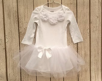 Christening Gown, White Baby Dress, Baby Girl Baptism Dress, Baby Tutu Dress, Infant Blessing Outfit, Dedication Dress, Tulle Newborn Dress