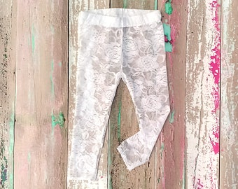 1288433518065 Lace Baby Leggings, Toddler Lace Leggings, Lace Tights, Newborn Girl Outfit  for Pictures, Sheer Footless Tights, White Lace Leggings