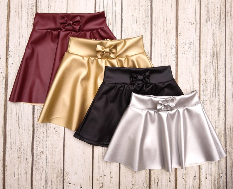 21632ec3cd Girls Faux Leather Skirt in Burgundy Gold Black & Silver | Etsy