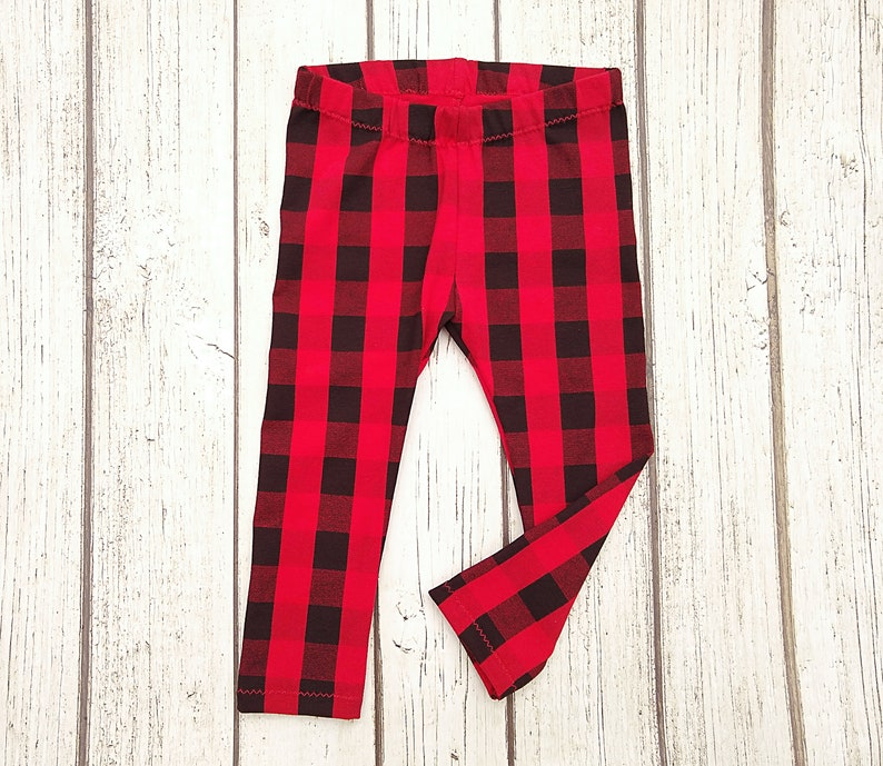 e36b64c74c4dd Buffalo Plaid Leggings Red Plaid Leggings Newborn Girl | Etsy