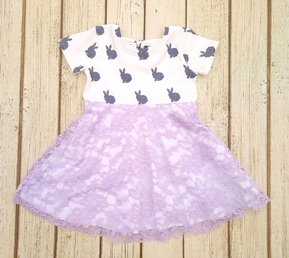 Baby Girl Easter Dress, Lavender Bunny Dress, Lace Toddler Easter Dress, Infant Easter Dress