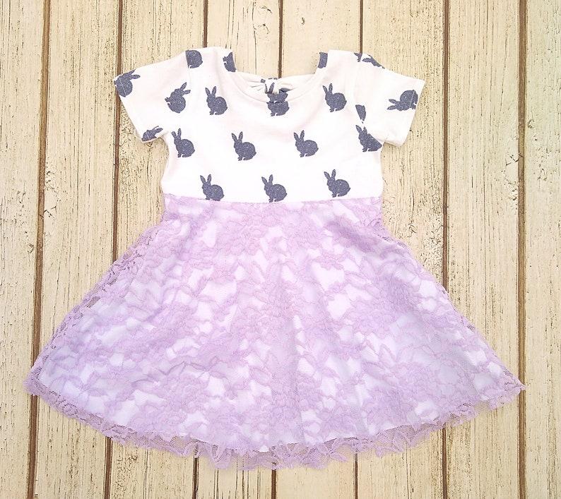 Baby Girl Easter Dress Lavender Bunny Dress Lace Toddler Easter Dress Infant Easter Dress